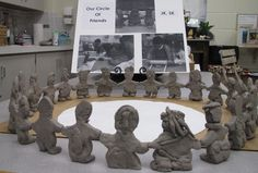 """A Circle of Learning"" Each child created a clay figure of themselves which was joined together into a large circle symbolizing their friendship and collaborative learning."