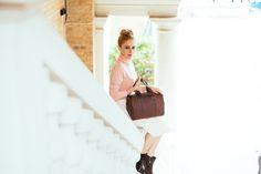 Chocolate tan handbag with gorgeous cotton lining. Lovely luxury winter pick.  www.bettyandbetts.com/shop