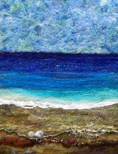 Sea Shore Too, 11 x needlefelted wool on felt with art yarns. Wet Felting, Needle Felting, Beach Quilt, Felt Pictures, Textile Fiber Art, Textiles, Landscape Quilts, Thread Painting, Beach Scenes