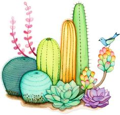 """My """"Cactus Garden"""" painting is now ready! I wanted to finish it before Thursday and give it to my mom for her birthday!  .  Here is the fra..."""