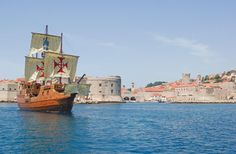 The galleon Tirena is a replica of merchant ship from 16th century commonly used for sea trade in Dubrovnik Republic. With its 31 meters of length, 7 meters of width and capacity up to 200 passengers, galleon Tirena has set new standards for daily programs and events in Dubrovnik area. The ship is made from Croatian wood according to the original drawings from Dubrovnik Maritime Museum, with sails, cannons and crew, retaining galleon essential character.