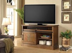 Westgate white 66 sliding barn door tv stand media console with kitchen amusing Entertainment Center Makeover, Entertainment Center Kitchen, Entertainment Room, Barn Door Media Console, Barn Door Tv Stand, Modern Color Schemes, Parker House, Healthy Living Magazine, Ana White