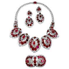 Highly Important Magnificent CARTIER PARIS Ruby Diamond Parure