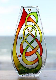 Hand painted glass vase with original Celtic knot design by AutumnArtsandCrafts on Storenvy.com