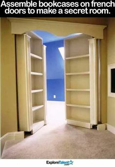 Bookshelves into French doors to create a secret room. (Image Only)