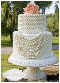 Pearl Necklace Cake by Sweet Grace Cake Design wedding-stuff