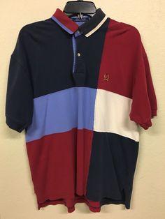 587a96ad246 Vintage 90's Tommy Hilfiger Multi Color Polo Casual Shirt Men's L Lion Crest
