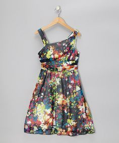 Take a look at this Black & Lime Floral One-Shoulder Dress - GIrls by Rare Editions on #zulily today!