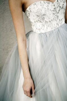 Grey Tulle Couture Wedding Gown - Designed by Elizabeth Dye