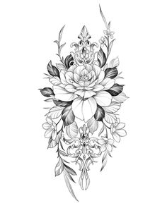 Mandala Flower Tattoos, Flower Tattoo Drawings, Tattoo Design Drawings, Tattoo Sketches, Floral Tattoo Design, Mandala Tattoo Design, Flower Tattoo Designs, Thigh Tattoo Designs, Cute Tattoos