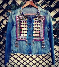 Unique and exclusive denim jacket. Customed with authentic vintage tribal textiles, embroidered by nomadic tribe. Apply ancient ethnic coins, and unique vintage tribal jewelry. Each piece of the jacket is unique. Denim Fashion, Boho Fashion, Fashion Outfits, 90s Fashion, Winter Fashion, Fashion Tips, Fashion Trends, Gilet Jeans, Men's Jeans