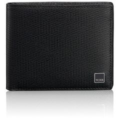 Tumi 'Monaco - Global' Wallet with Coin Pocket ($175) ❤ liked on Polyvore featuring men's fashion, men's bags, men's wallets and black