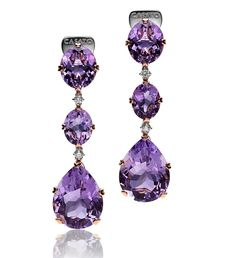 With #summer now in full swing – it's the perfect time to enjoy the #freshness… Amethyst Earrings, Diamond Earrings, British Crown Jewels, Titanic Jewelry, Purple Jewelry, Plastic Jewelry, Glitz And Glam, Pink Quartz, Boutique