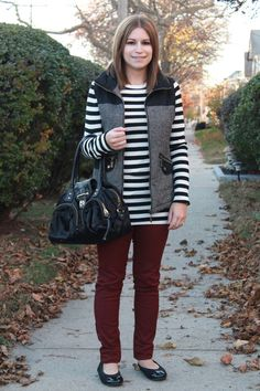 Burgundy pants, striped tee, tweed vest