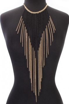 Gold Two Tone Fringe Chain Necklace