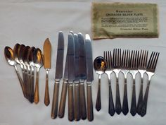 Crusader Silver Plate Spoons Forks Knives 18 Pc RC . Silverplate 1929 FREE SHIP