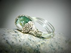 Silver wire wrapped ring China Jade