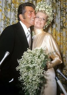 April 25,1973. Entertainer Dean Martin, 55, married his girlfriend of two years, Cathy Hawn, 25, in a small ceremony at his Hollywood home. Frank Sinatra was his best man. It was the third marriage for Martin and Miss Hawn's second marriage.  Her 6-year old daughter, Sasha, was the flower girl. The bride wore a peach champagne French chiffon satin bias-cut gown with a high draped neck and a long train.