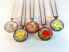 Floral Rose Pendant Necklaces on Etsy $18, click here to see more…