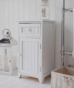 A crisp white freestanding bathroom storage furniture. A narrow bathroom cabinet with one drawer Bathroom Cabinet With Drawers, Bathroom Standing Cabinet, Free Standing Cabinets, White Bathroom Cabinets, Bathroom Vanities, Bathrooms, Freestanding Bathroom Storage, Bathroom Storage Units, Cupboard Storage