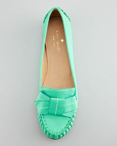 Kate Spade willie tumbled leather loafer, emerald green - Neiman Marcus  #hahahaha8888