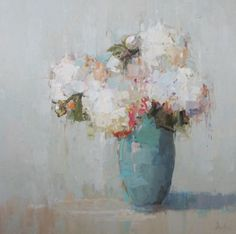 Barbara Flowers, 'Hydrangeas in Vintage Vase', Oil on Canvas, 36x36 - Anne Irwin Fine Art