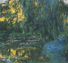 Claude Monet, Water-Lily Pond and Weeping Willow - Water Lilies (Monet series) - Wikipedia Claude Monet, Oil Painting On Canvas, Canvas Art Prints, Pond Landscaping, Great Works Of Art, Monet Paintings, Weeping Willow, Lily Pond, Water Lilies
