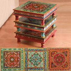 hand painted indian stacking tables. small. beautiful. very cool looking. and the price isn't too bad. right!http://pinterest.com/pin/118078821450305628/edit/#