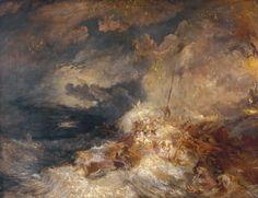 A Disaster at Sea, ca 1835, Joseph Mallord William Turner. English Romantic…