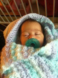 FREE PATTERRN - Not Nana's Crochet!: Crochet Hooded Baby Blanket Double crochet skill level - finished size x Crochet Baby Blanket Free Pattern, Baby Afghan Crochet, Crochet Motifs, Baby Afghans, Crochet Baby Booties, Crochet Stitches, Baby Blankets, Crochet Blankets, Crochet Patterns
