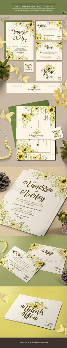 Sunflower Wedding Invitation Card Set Design Template - Weddings Cards & Invites Template PSD. Download here: https://graphicriver.net/item/sunflower-wedding-invitation-set/17711228?ref=yinkira