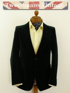 Vintage green velvet jacket 1970s mens 38L | Tweedmans Vintage