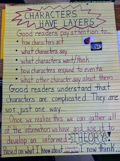 Character anchor chart {Image only, but a great one!} Character anchor chart {Image only, but a great one! Reading Lessons, Reading Strategies, Reading Skills, Teaching Reading, Reading Resources, Learning, Guided Reading, Glad Strategies, Teaching Ideas