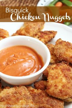 BAKED chicken nuggets that are battered with Bisquick. Easy and delicious! #dinner #recipe http://www.highheelsandgrills.com/2013/05/bisquick-chicken-nuggets.html