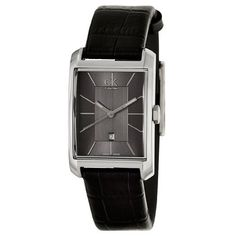 Calvin Klein Womens K2M23107 Window Grey Dial Black Leather Strap Swiss Quartz Watch >>> You can find more details by visiting the image link. (Note:Amazon affiliate link)