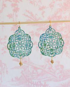 Mint Green & Aqua Blue Lace Earrings
