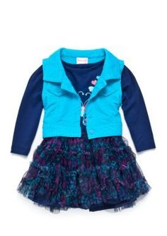 Nannette Blue 2-Piece Vest and Butterfly Dress Set Toddler Girls