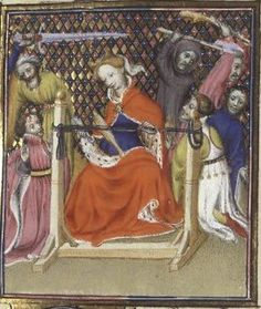 Medieval image of tablet weaving loom