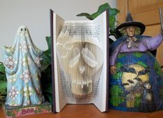 Folded Book Art, Halloween Skull Art, Book Sculpture, Sugar Skull Art, Day of the Dead, Flower Skull Art - pinned by pin4etsy.com