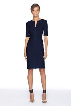 Diane von Furstenberg Saturn dress navy  perfect: sleeve, neckline, lenghth. love it.