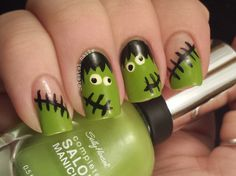 Frankenstein Nail Art. Head on over to my blog to check it out. Plus there are more nail arts where this came from.