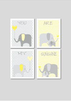 Elephants printable nursery art, instant download, elephant nursery decor, grey and yellow nursery decor, hearts nursery art