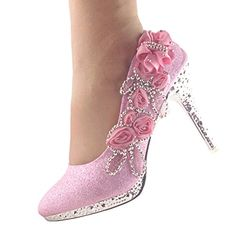getmorebeauty Womens Lace Flower Pearls High Heels Closed Toes Dress  Wedding Shoes 7 BM US Pink -- Find out more about the great product at the  image link. ef2eb19c9b3b