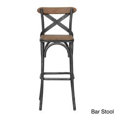 Add industrial style to your home decor with this rustic Dixon bar stool. Made with black metal and distressed pine, this unique stool features a cross-back pattern and comfortable footrest.