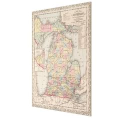 Vintage Map of Michigan (1857) Canvas Print