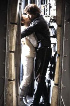 """I like nice men..."" Princess Leia and Han Solo enjoy a kiss from Star Wars The Empire Strikes Back"
