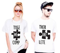 """Koszulki dla Par """"Puzzle Together We Are Complet """" Couple Goals, Puzzle, T Shirts For Women, Couples, Tops, Fashion, Moda, Fashion Styles, Riddles"""