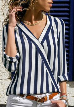 Women Chiffon Blouse Striped Printed V-Neck Long Sleeve Casual Autumn Shirt Tops Ol Pullover Blusas Mujer Black XXXL Casual Tops, Casual Shirts, Long Sleeve Tops, Long Sleeve Shirts, Chiffon Shirt, Couture, Aliexpress, Shirt Blouses, Blouses For Women