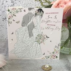 to a Special Son and Daughter in Law on Your Wedding Day - Handfinished Wedding Card with Crystals Daughter In Law, On Your Wedding Day, Wedding Cards, Envelope, Sons, Pastel, Weddings, Contemporary, Crystals