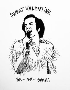 Funny Valentine's Day Card,Neil Diamond,Turn On Your Heart Light,Sweet Valentine,Valentine Cards,Funny Valentines,Funny Cards,Weird,Hipster on Etsy, $4.00